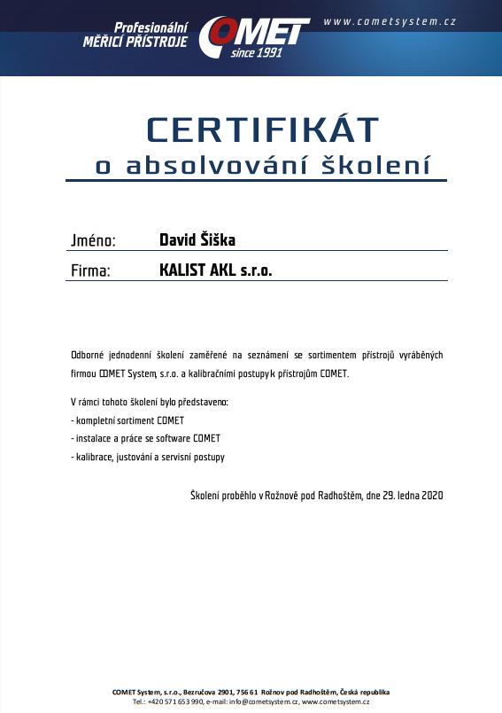 Certifikát Comet