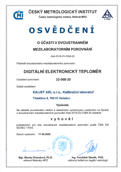 Osvědčení - digitální elektronický teploměr