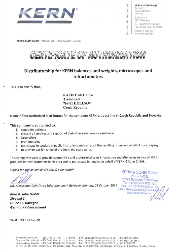 KERN - certifikát o autorizaci